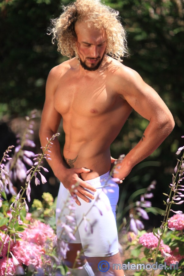 Erik blond muscular hunk garden shoot #1