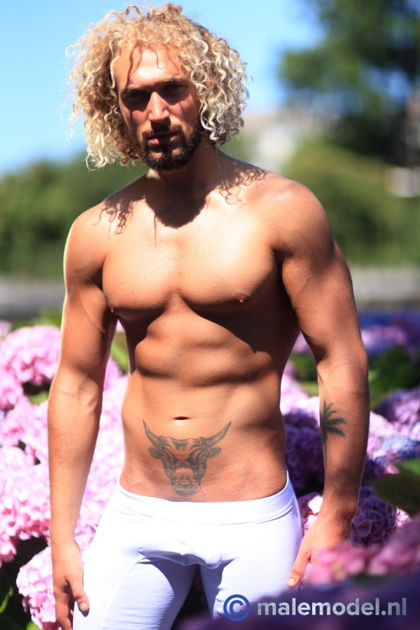 Erik blond muscular hunk garden shoot #3